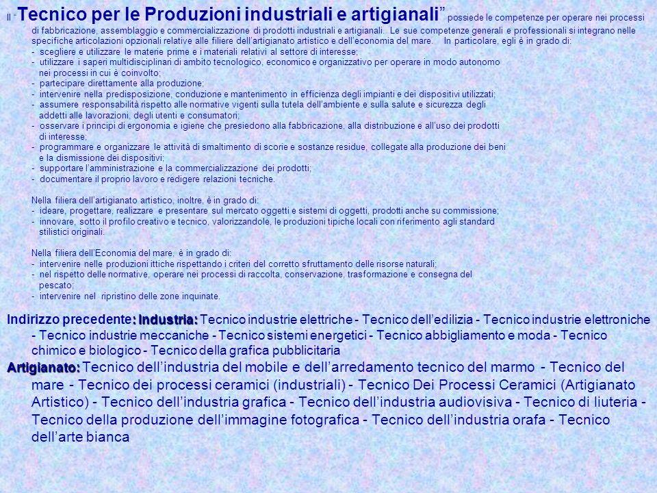 Il Tecnico per le Produzioni industriali e artigianali possiede le competenze per operare nei processi di fabbricazione, assemblaggio e commercializza