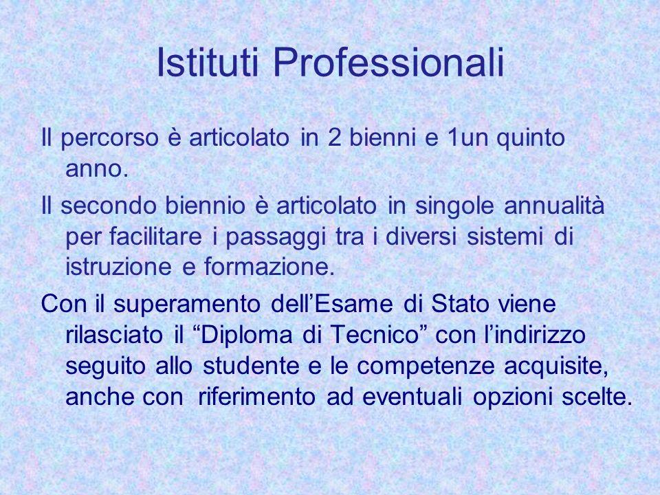 Istituti Professionali Il percorso è articolato in 2 bienni e 1un quinto anno. Il secondo biennio è articolato in singole annualità per facilitare i p