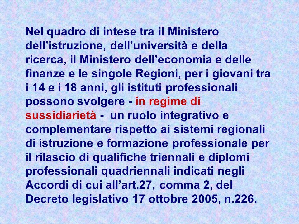 Nel quadro di intese tra il Ministero dellistruzione, delluniversità e della ricerca, il Ministero delleconomia e delle finanze e le singole Regioni,