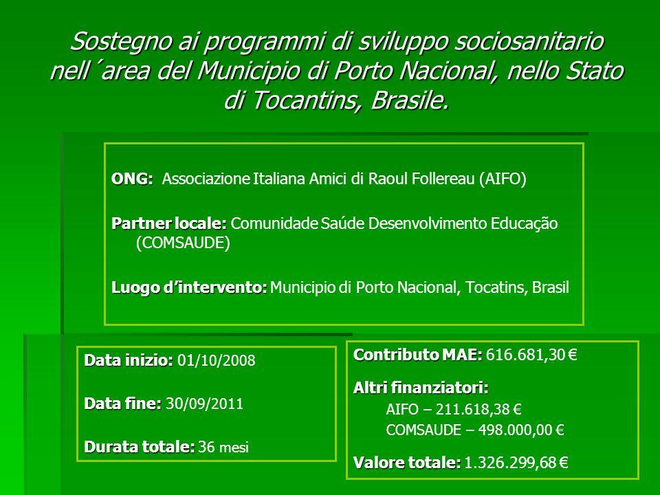 Sostegno ai programmi di sviluppo sociosanitario nell´area del Municipio di Porto Nacional, nello Stato di Tocantins, Brasile. ONG: ONG: Associazione
