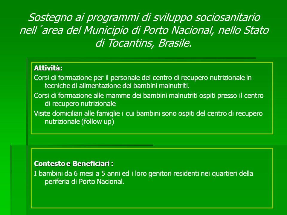 Contesto e Beneficiari : I bambini da 6 mesi a 5 anni ed i loro genitori residenti nei quartieri della periferia di Porto Nacional. Attività: Corsi di