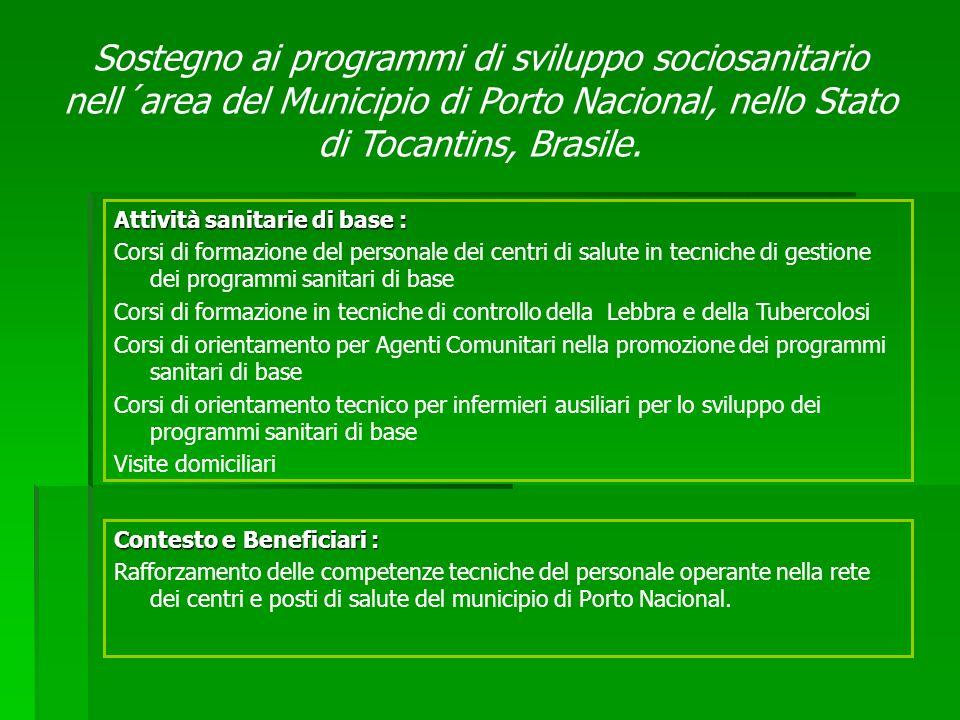 Contesto e Beneficiari : Rafforzamento delle competenze tecniche del personale operante nella rete dei centri e posti di salute del municipio di Porto