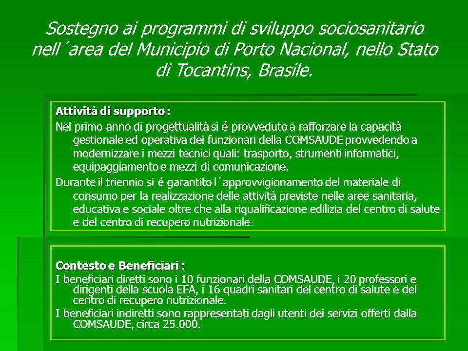 Contesto e Beneficiari : I beneficiari diretti sono i 10 funzionari della COMSAUDE, i 20 professori e dirigenti della scuola EFA, i 16 quadri sanitari