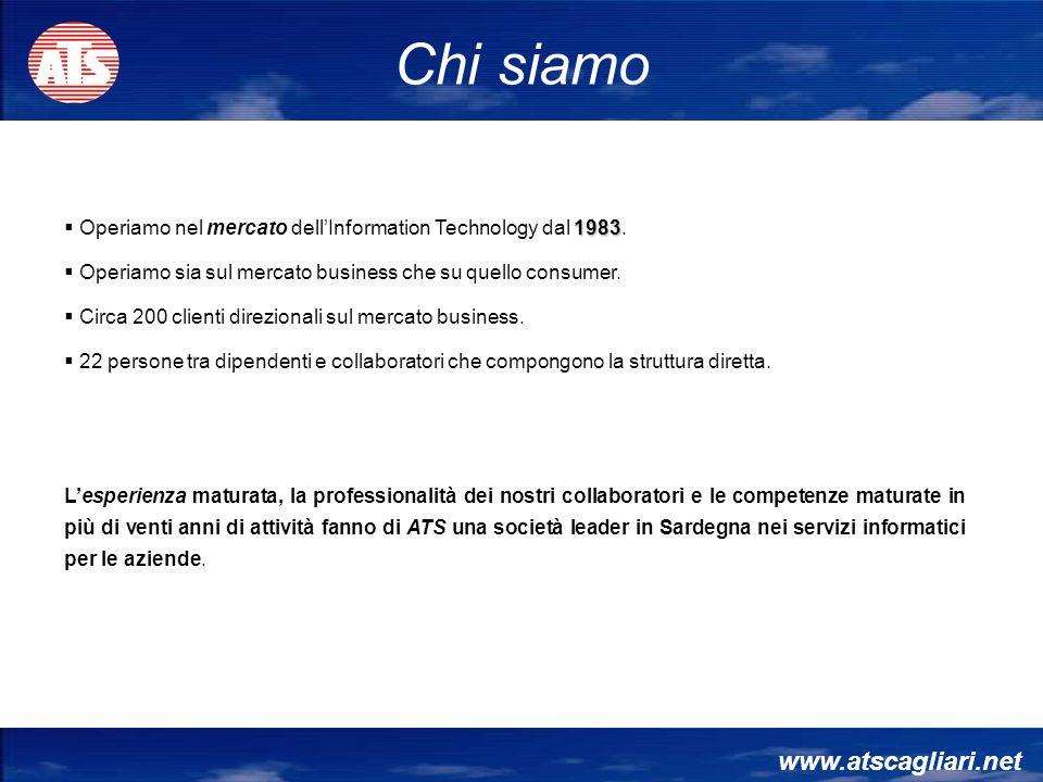 www.atscagliari.net Chi siamo 1983 Operiamo nel mercato dellInformation Technology dal 1983. Operiamo sia sul mercato business che su quello consumer.
