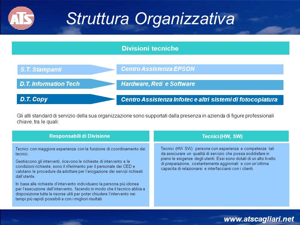 Tecnici con maggiore esperienza con la funzione di coordinamento dei tecnici. Gestiscono gli interventi, ricevono le richieste di intervento e le cond