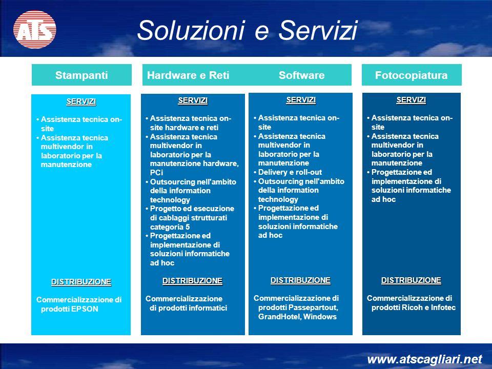 www.atscagliari.net StampantiHardware e Reti SoftwareFotocopiatura SERVIZI Assistenza tecnica on- site Assistenza tecnica multivendor in laboratorio p