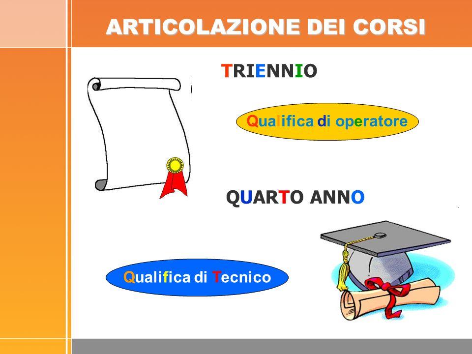 Qualifica di operatore TRIENNIO ARTICOLAZIONE DEI CORSI Qualifica di Tecnico QUARTO ANNO