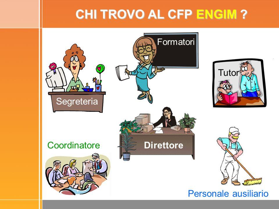 CHI TROVO AL CFP ENGIM ? Coordinatore Personale ausiliario Formatori Tutor Segreteria Direttore Segreteria