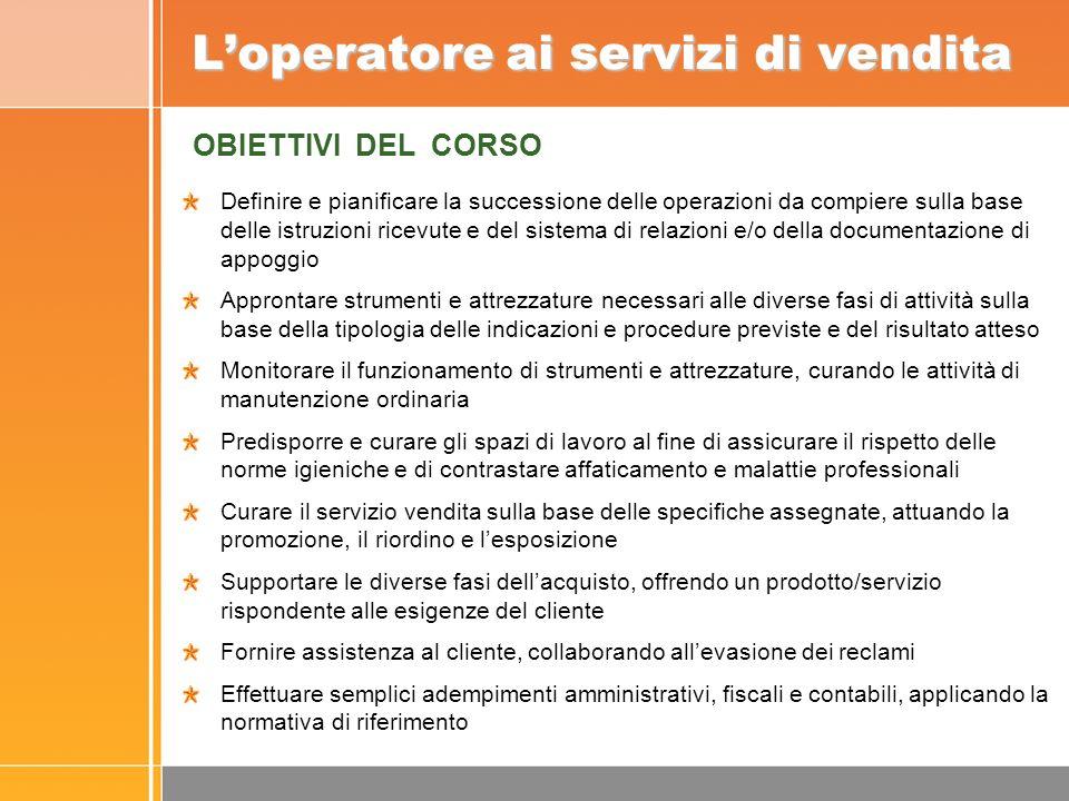 Loperatore ai servizi di vendita Definire e pianificare la successione delle operazioni da compiere sulla base delle istruzioni ricevute e del sistema