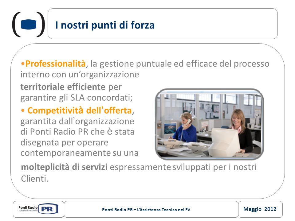 Maggio 2012 Ponti Radio PR – LAssistenza Tecnica nel FV I nostri punti di forza territoriale efficiente per garantire gli SLA concordati; Competitivit