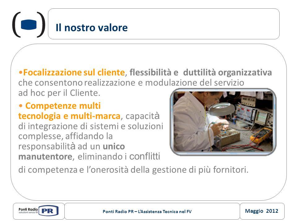 Maggio 2012 Ponti Radio PR – LAssistenza Tecnica nel FV Il nostro valore Competenze multi tecnologia e multi-marca, capacit à di integrazione di siste