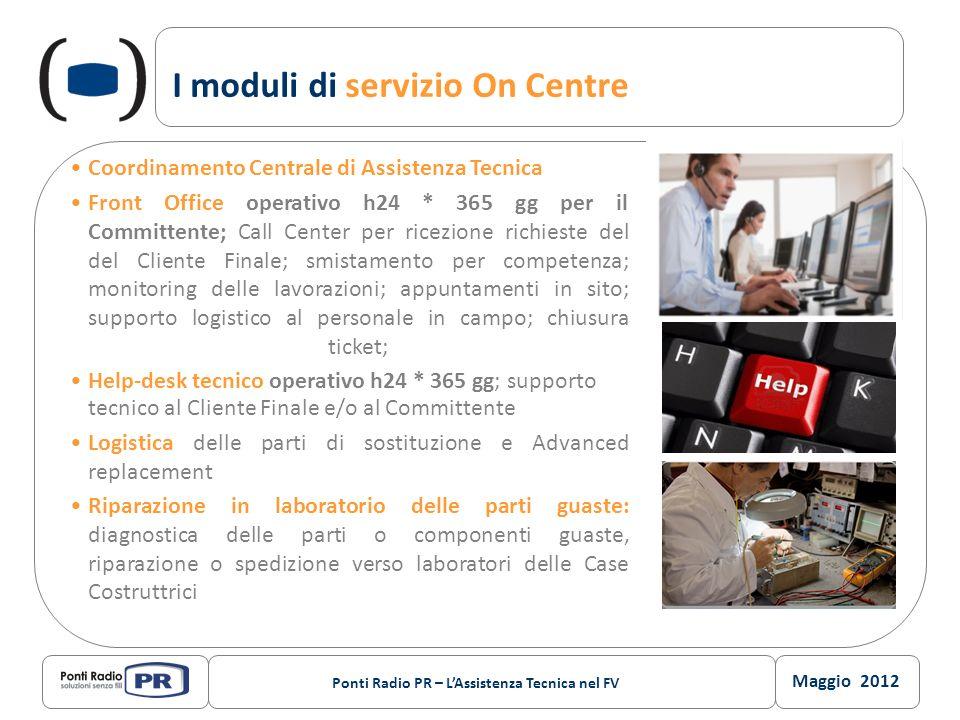 Maggio 2012 Ponti Radio PR – LAssistenza Tecnica nel FV I moduli di servizio On Centre Coordinamento Centrale di Assistenza Tecnica Front Office opera