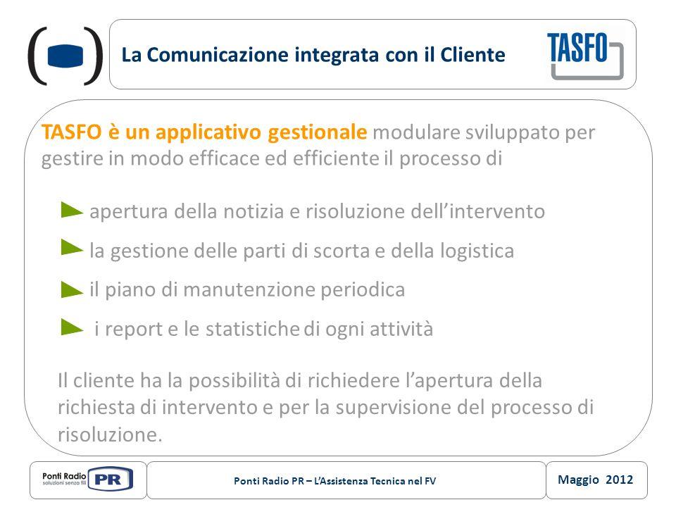 Maggio 2012 Ponti Radio PR – LAssistenza Tecnica nel FV La Comunicazione integrata con il Cliente TASFO è un applicativo gestionale modulare sviluppat