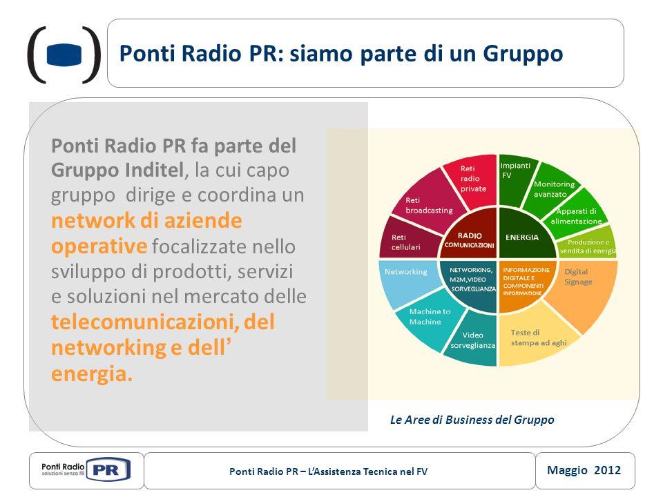 Maggio 2012 Ponti Radio PR – LAssistenza Tecnica nel FV Ponti Radio PR: siamo parte di un Gruppo Ponti Radio PR fa parte del Gruppo Inditel, la cui ca