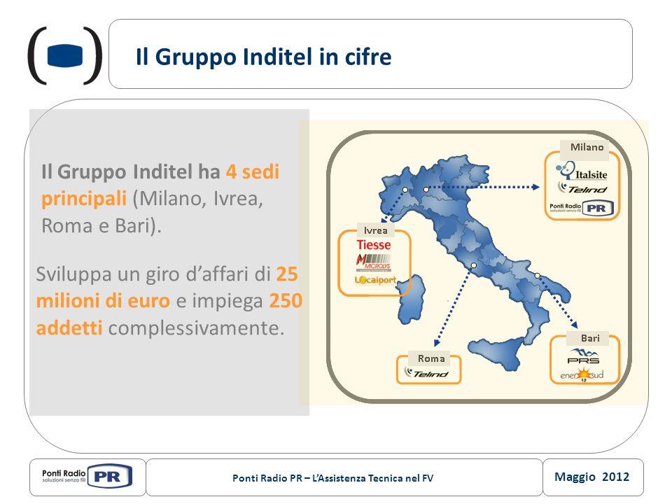 Maggio 2012 Ponti Radio PR – LAssistenza Tecnica nel FV Il Gruppo Inditel in cifre Il Gruppo Inditel ha 4 sedi principali (Milano, Ivrea, Roma e Bari)