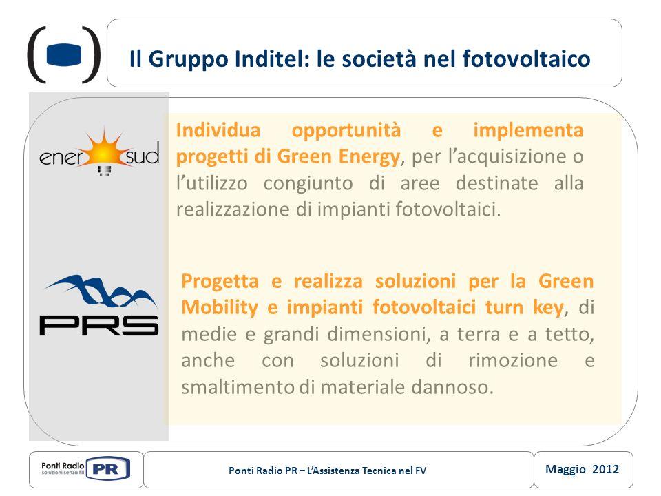 Maggio 2012 Ponti Radio PR – LAssistenza Tecnica nel FV Il Gruppo Inditel: le società nel fotovoltaico Individua opportunità e implementa progetti di