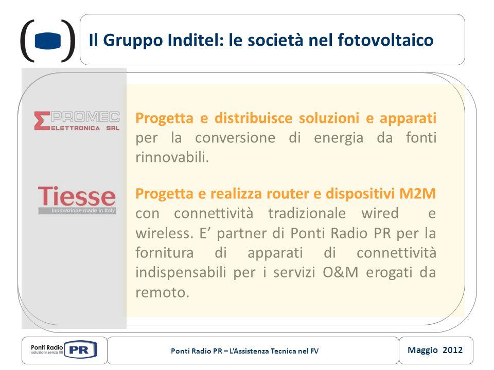 Maggio 2012 Ponti Radio PR – LAssistenza Tecnica nel FV Il Gruppo Inditel: le società nel fotovoltaico Progetta e distribuisce soluzioni e apparati pe