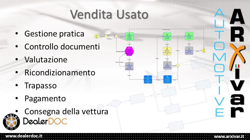 www.arxivar.it www.dealerdoc.it Vendita Usato Gestione pratica Controllo documenti Valutazione Ricondizionamento Trapasso Pagamento Consegna della vettura