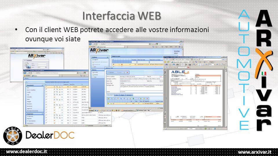 www.arxivar.it www.dealerdoc.it Interfaccia WEB Con il client WEB potrete accedere alle vostre informazioni ovunque voi siate