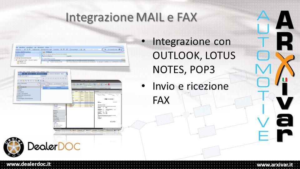 www.arxivar.it www.dealerdoc.it Integrazione MAIL e FAX Integrazione con OUTLOOK, LOTUS NOTES, POP3 Invio e ricezione FAX