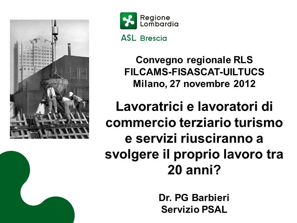 Convegno regionale RLS FILCAMS-FISASCAT-UILTUCS Milano, 27 novembre 2012 Lavoratrici e lavoratori di commercio terziario turismo e servizi riusciranno a svolgere il proprio lavoro tra 20 anni.