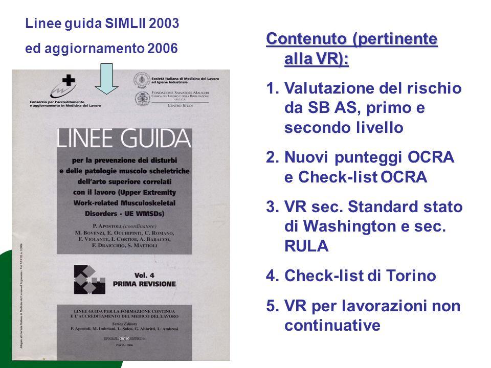 Linee guida SIMLII 2003 ed aggiornamento 2006 Contenuto (pertinente alla VR): 1.Valutazione del rischio da SB AS, primo e secondo livello 2.Nuovi punteggi OCRA e Check-list OCRA 3.VR sec.