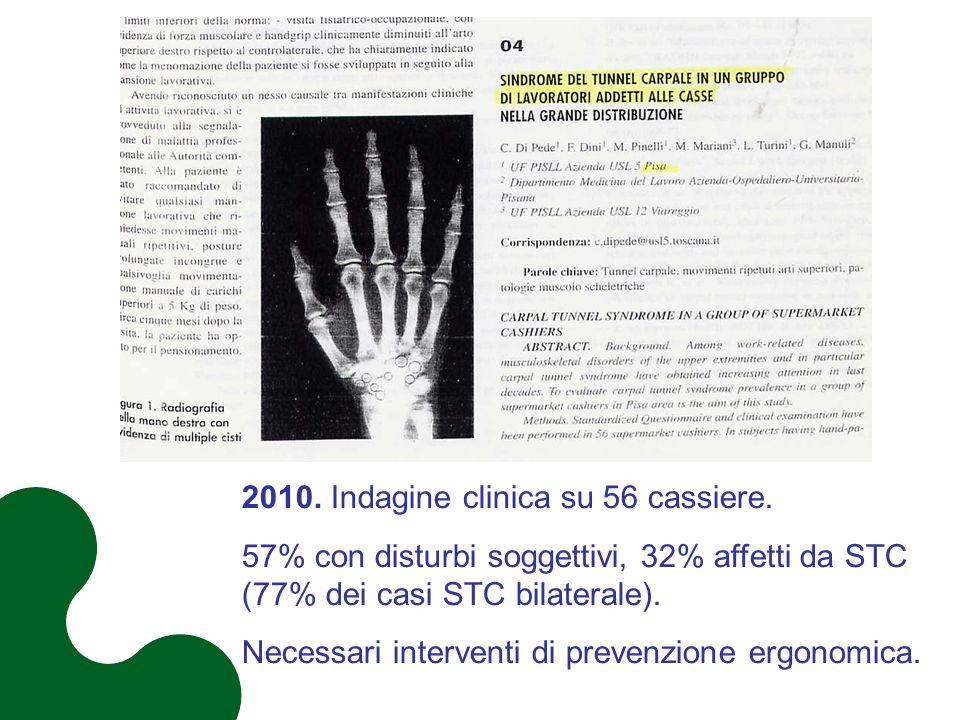 2010. Indagine clinica su 56 cassiere. 57% con disturbi soggettivi, 32% affetti da STC (77% dei casi STC bilaterale). Necessari interventi di prevenzi