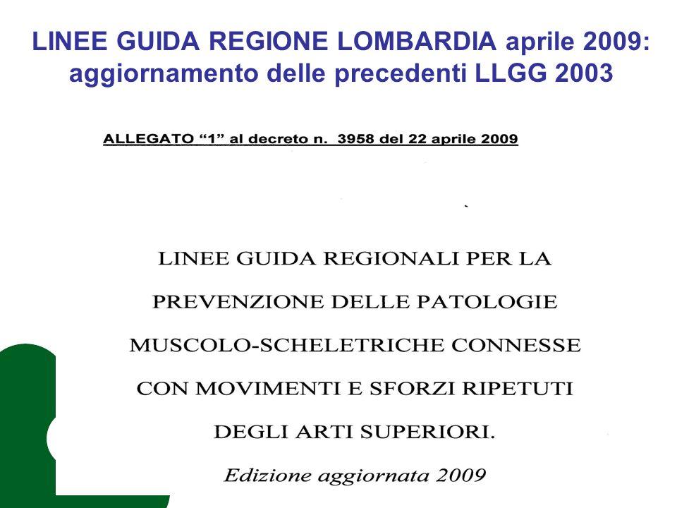 LINEE GUIDA REGIONE LOMBARDIA aprile 2009: aggiornamento delle precedenti LLGG 2003