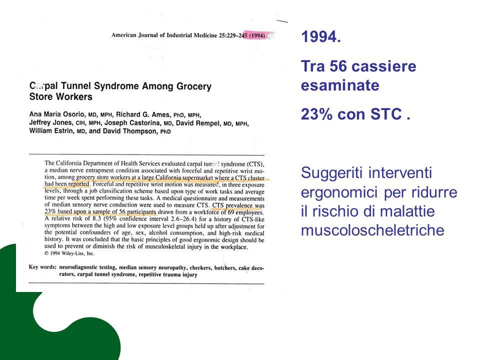 1994. Tra 56 cassiere esaminate 23% con STC. Suggeriti interventi ergonomici per ridurre il rischio di malattie muscoloscheletriche