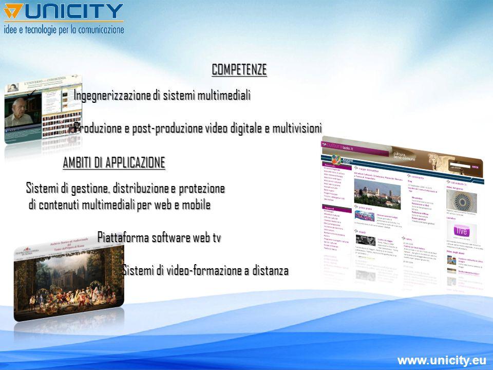 www.unicity.eu SVILUPPO crescita – multidisciplinarietà – know how SPECIALIZZAZIONE piattaforma di gestione web tv, contenuti multimediali & produzioni video SPIN OFF creazione di un nuovo brand per la focalizzazione di progetti cross-mediali