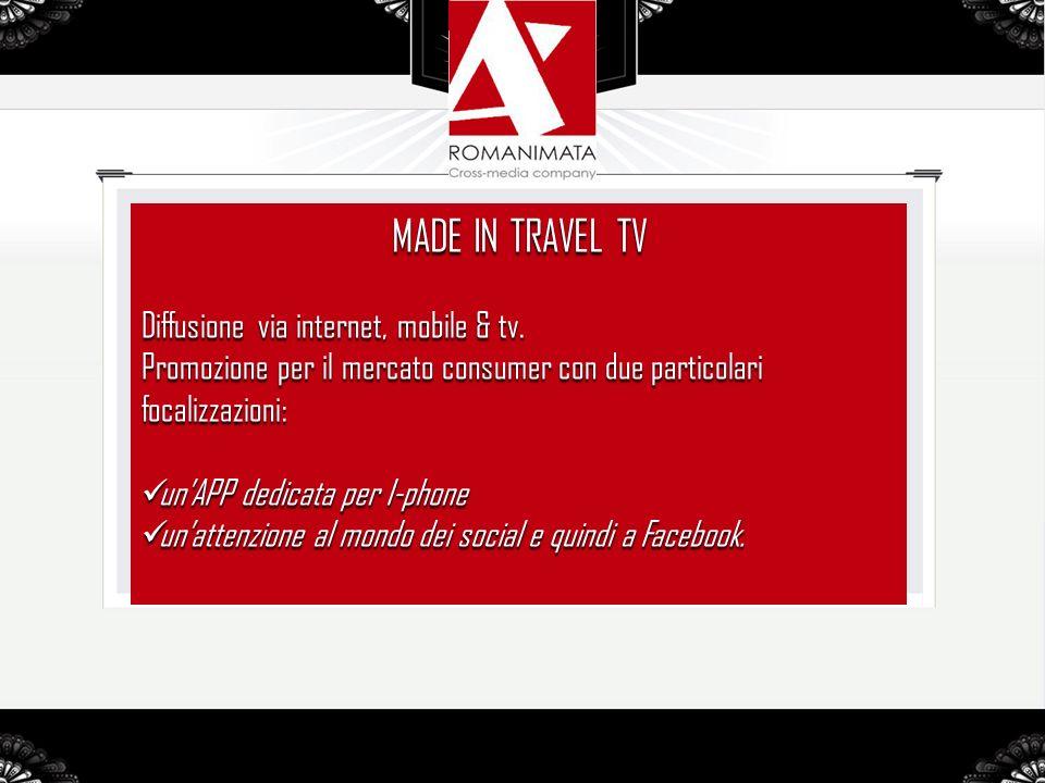 MADE IN TRAVEL TV Diffusione via internet, mobile & tv.