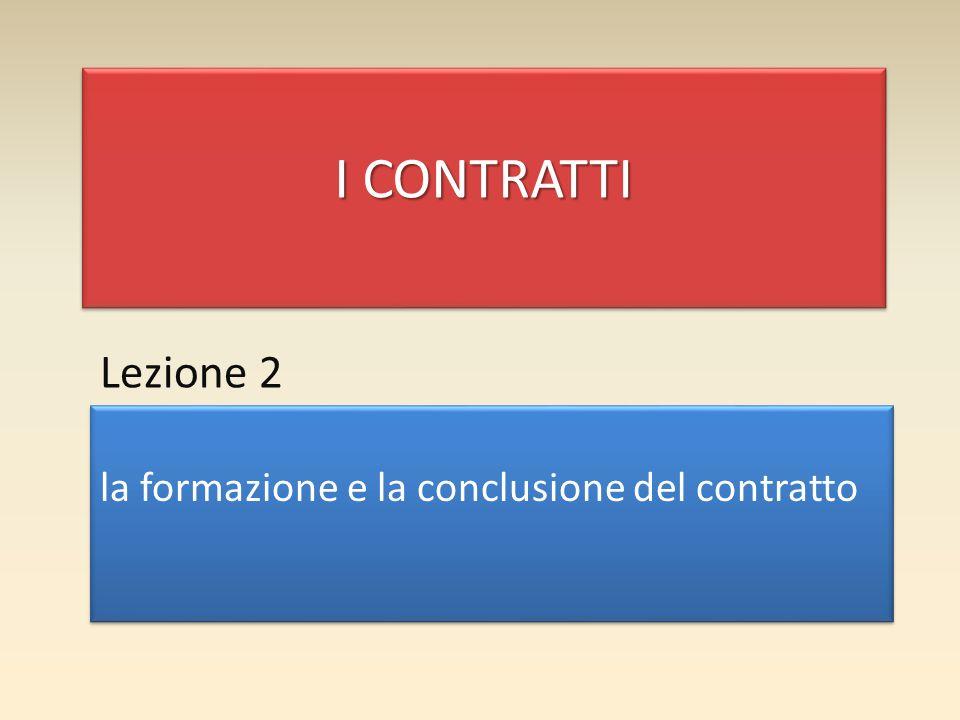 I CONTRATTI la formazione e la conclusione del contratto Lezione 2