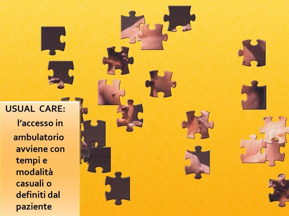 puzzle USUAL CARE: laccesso in ambulatorio avviene con tempi e modalità casuali o definiti dal paziente