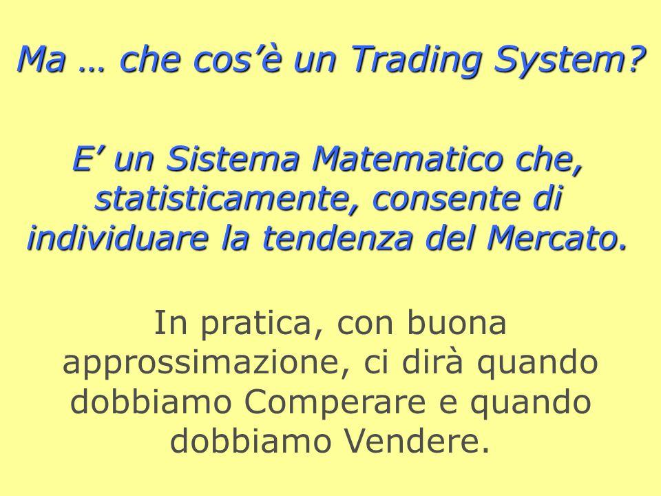 Limportante ? Sapere dove andrà il Mercato ! A questo scopo si costruiscono Motori Informatici di previsione. Ecco allora i: Trading Systems