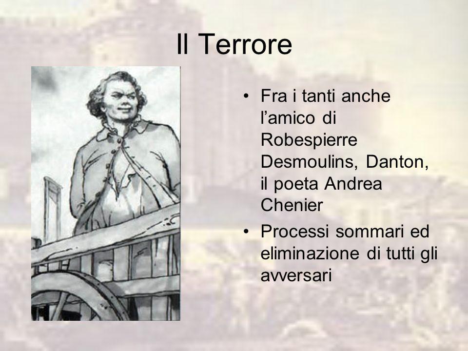 Il Terrore Accentramento dei poteri nel Comitato di salute pubblica Poteri a Robespierre Chiusura dei club e delle società popolari Controllo dellecon