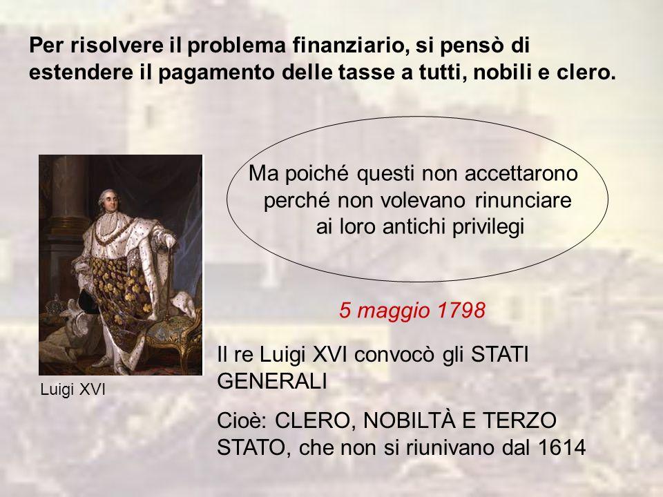 Per risolvere il problema finanziario, si pensò di estendere il pagamento delle tasse a tutti, nobili e clero.