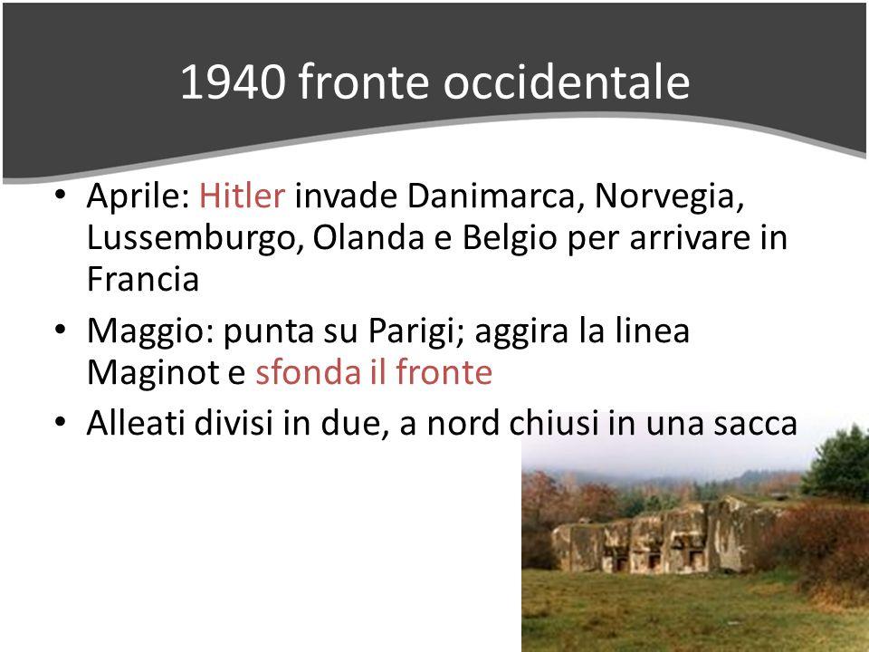1940 fronte occidentale Aprile: Hitler invade Danimarca, Norvegia, Lussemburgo, Olanda e Belgio per arrivare in Francia Maggio: punta su Parigi; aggira la linea Maginot e sfonda il fronte Alleati divisi in due, a nord chiusi in una sacca