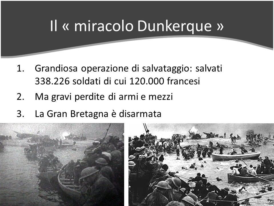 Il « miracolo Dunkerque » 1.Grandiosa operazione di salvataggio: salvati 338.226 soldati di cui 120.000 francesi 2.Ma gravi perdite di armi e mezzi 3.