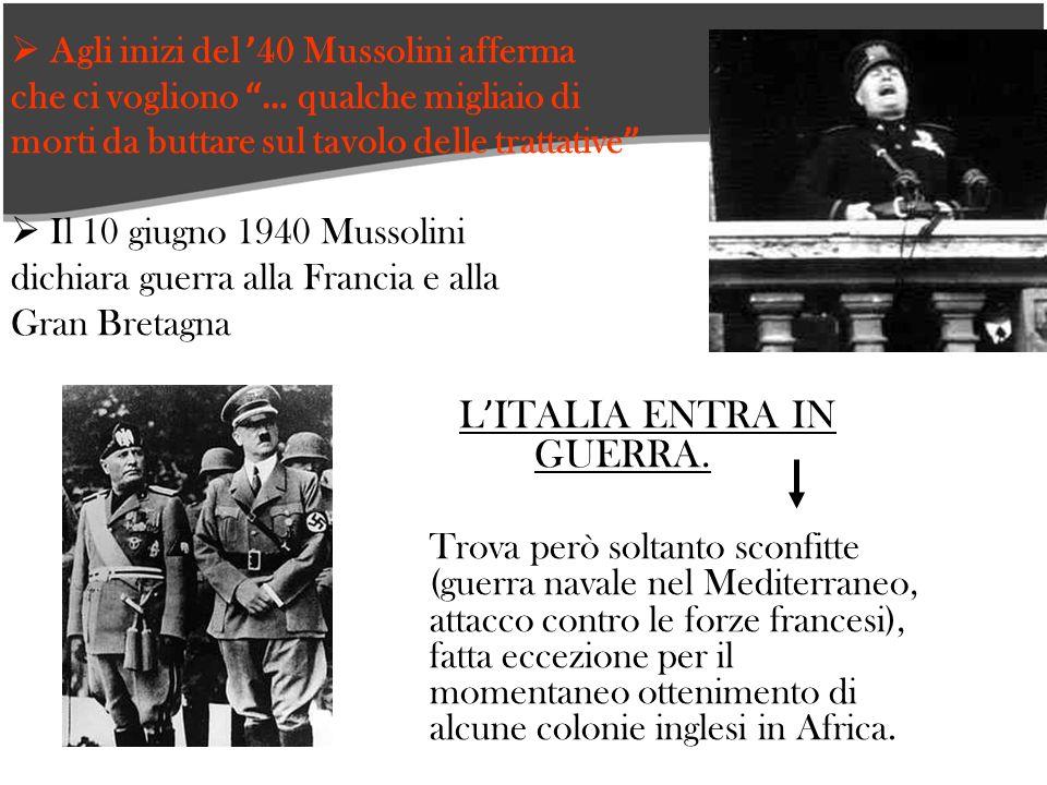 Agli inizi del 40 Mussolini afferma che ci vogliono … qualche migliaio di morti da buttare sul tavolo delle trattative Il 10 giugno 1940 Mussolini dichiara guerra alla Francia e alla Gran Bretagna L ITALIA ENTRA IN GUERRA.