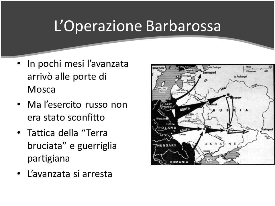 LOperazione Barbarossa In pochi mesi lavanzata arrivò alle porte di Mosca Ma lesercito russo non era stato sconfitto Tattica della Terra bruciata e guerriglia partigiana Lavanzata si arresta