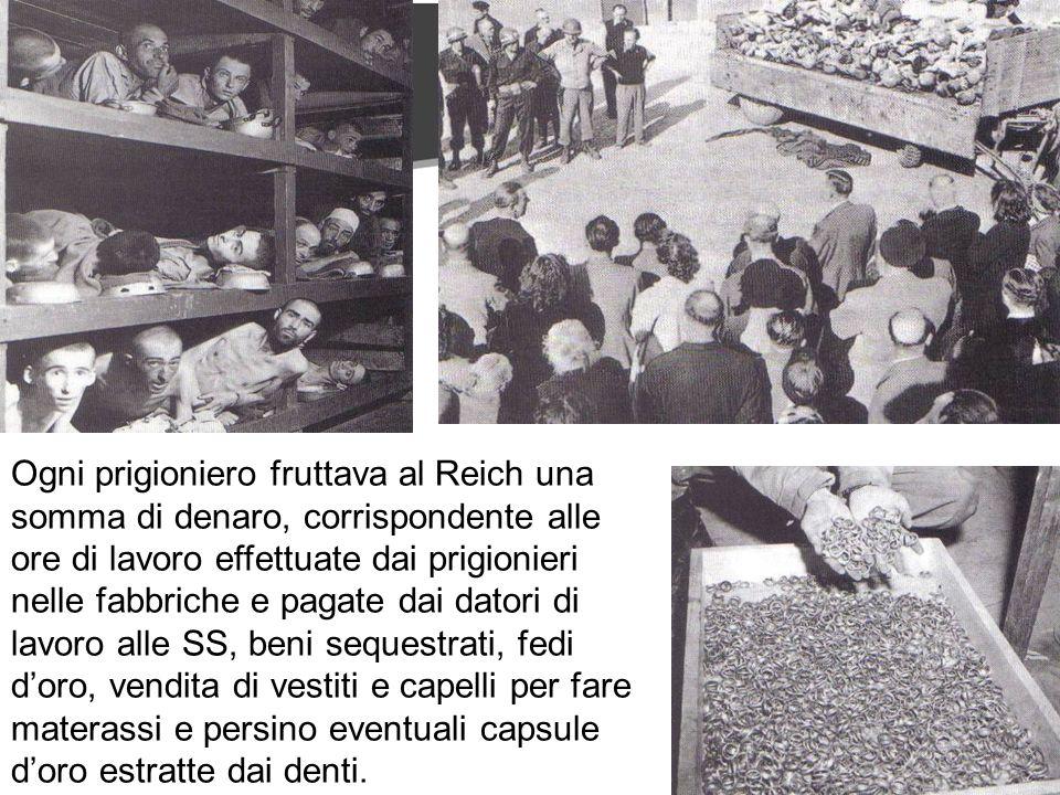 Ogni prigioniero fruttava al Reich una somma di denaro, corrispondente alle ore di lavoro effettuate dai prigionieri nelle fabbriche e pagate dai datori di lavoro alle SS, beni sequestrati, fedi doro, vendita di vestiti e capelli per fare materassi e persino eventuali capsule doro estratte dai denti.