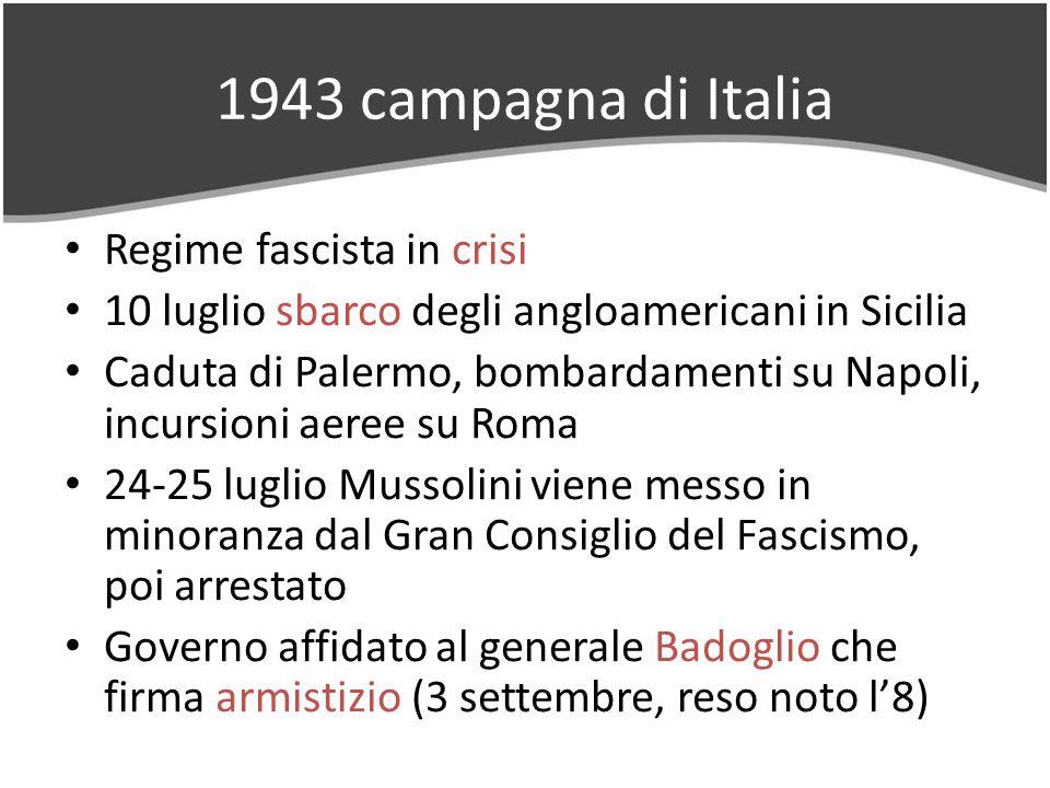 1943 campagna di Italia Regime fascista in crisi 10 luglio sbarco degli angloamericani in Sicilia Caduta di Palermo, bombardamenti su Napoli, incursioni aeree su Roma 24-25 luglio Mussolini viene messo in minoranza dal Gran Consiglio del Fascismo, poi arrestato Governo affidato al generale Badoglio che firma armistizio (3 settembre, reso noto l8)