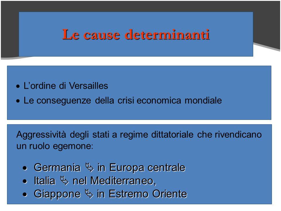 Lordine di Versailles Le conseguenze della crisi economica mondiale Aggressività degli stati a regime dittatoriale che rivendicano un ruolo egemone :