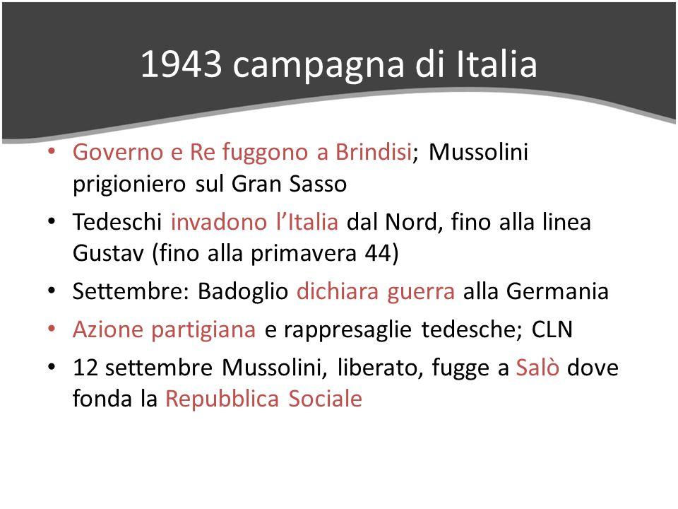 1943 campagna di Italia Governo e Re fuggono a Brindisi; Mussolini prigioniero sul Gran Sasso Tedeschi invadono lItalia dal Nord, fino alla linea Gust
