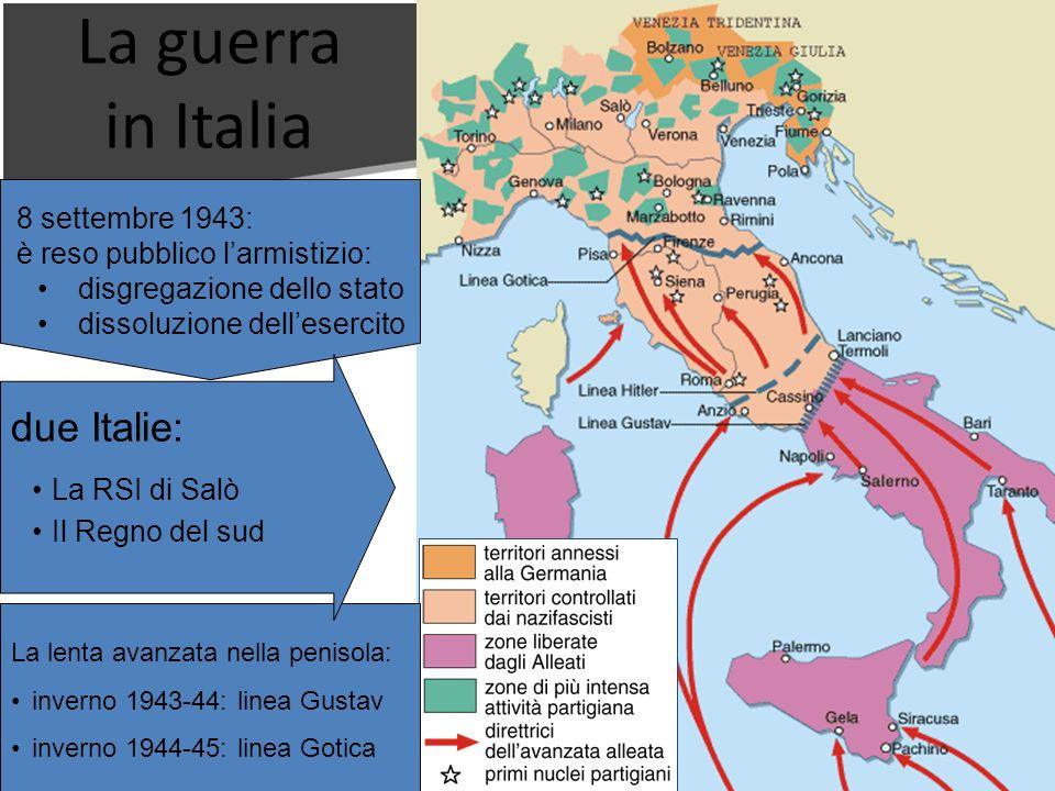 La guerra in Italia 8 settembre 1943:è reso pubblico larmistizio: disgregazione dello stato dissoluzione dellesercito La lenta avanzata nella penisola
