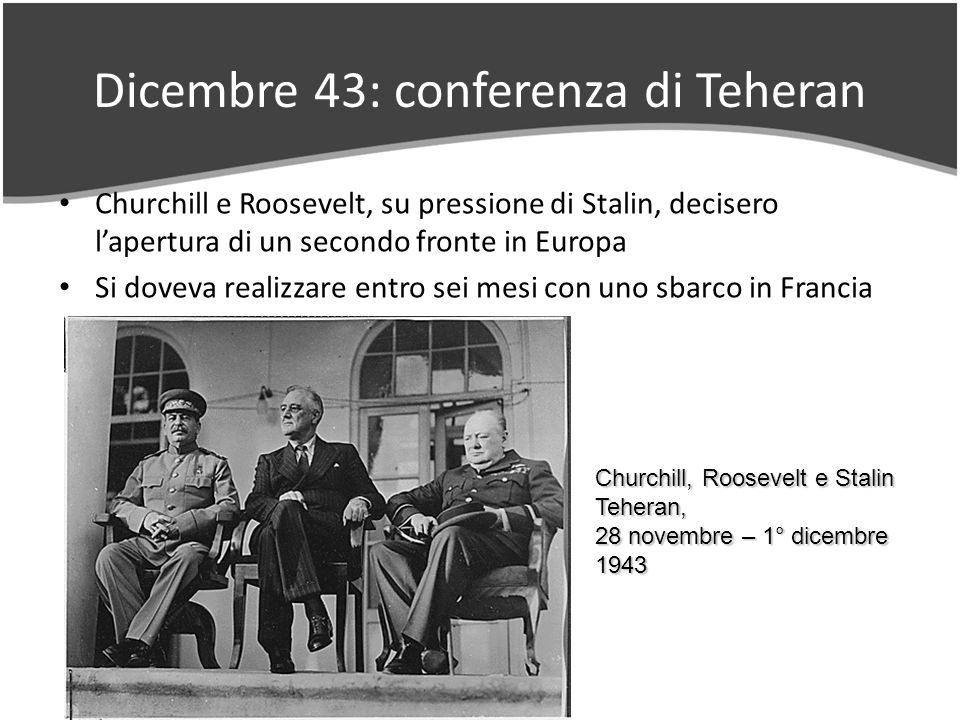 Dicembre 43: conferenza di Teheran Churchill e Roosevelt, su pressione di Stalin, decisero lapertura di un secondo fronte in Europa Si doveva realizzare entro sei mesi con uno sbarco in Francia Churchill, Roosevelt e Stalin Teheran, 28 novembre – 1° dicembre 1943