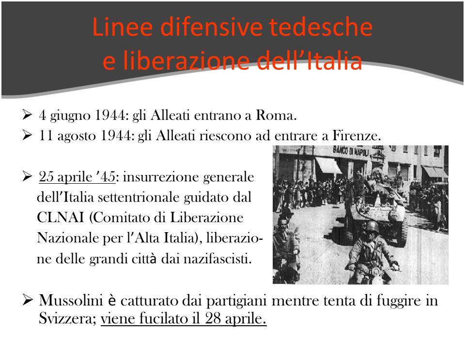 4 giugno 1944: gli Alleati entrano a Roma. 11 agosto 1944: gli Alleati riescono ad entrare a Firenze. 25 aprile 45: insurrezione generale dell Italia