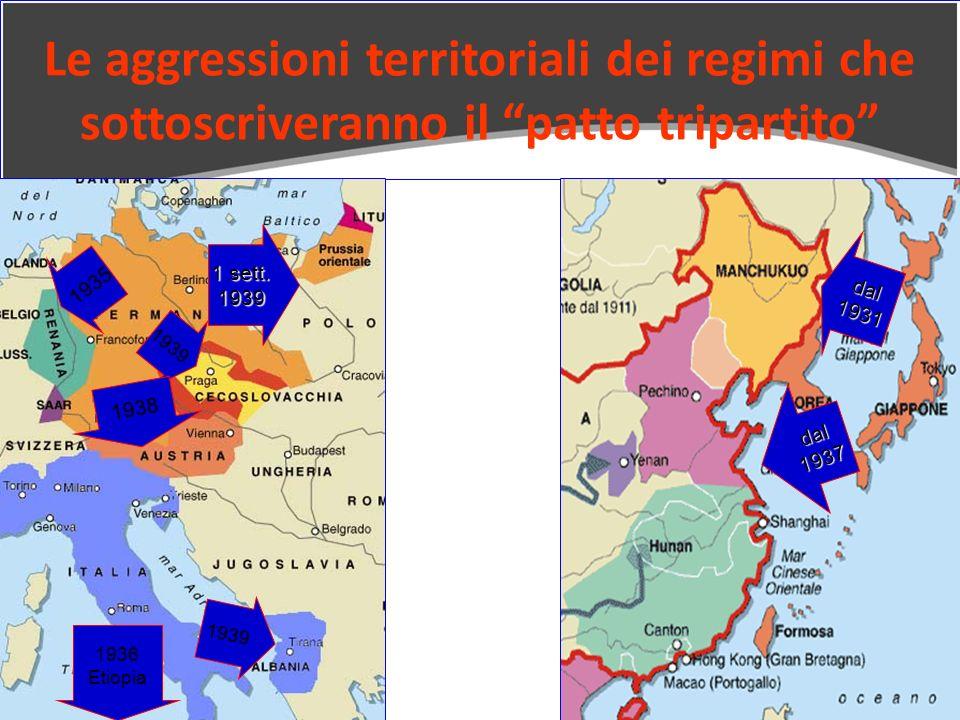 Le aggressioni territoriali dei regimi che sottoscriveranno il patto tripartito 1936 Etiopia dal1937 dal1931 1939 1935 1938 1 sett. 1939 1939