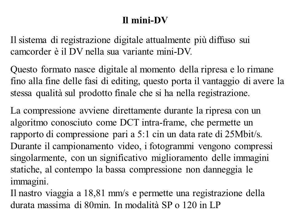 Il mini-DV Il sistema di registrazione digitale attualmente più diffuso sui camcorder è il DV nella sua variante mini-DV.