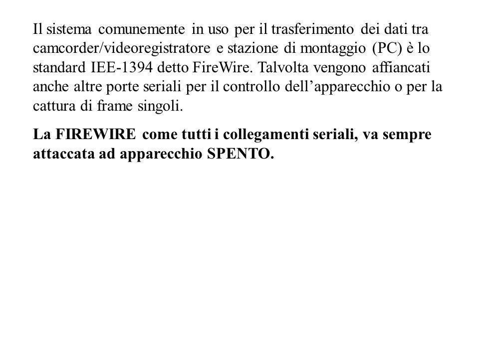 Il sistema comunemente in uso per il trasferimento dei dati tra camcorder/videoregistratore e stazione di montaggio (PC) è lo standard IEE-1394 detto FireWire.